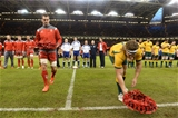 08.11.14 - Wales v Australia - Dove Men Series 2014 - Sam Warburton of Wales and Michael Hooper of Australia lay wreaths. © Huw Evans Picture Agency