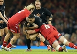22.11.14 -  Wales v New Zealand, Dove Men Series 2014, Cardiff -  Sonny Bill Williams of New Zealand is tackled by Richard Hibbard of Wales and Taulupe Faletau of Wales  © Huw Evans Agency, Cardiff