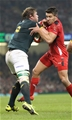 29.11.14 - Wales v South Africa, Dove Men Series 2014, Cardiff -  Rhys Webb of Wales tackles Duane Vermeulen of South Africa  © Huw Evans Agency, Cardiff