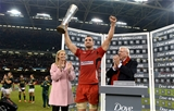 29.11.14 - Wales v South Africa - Dove Men Series - Sam Warburton of Wales celebrates with the Prince William cup. © Huw Evans Picture Agency