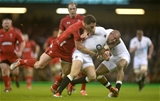 06.02.15 - Wales v England - RBS 6 Nations 2015 - Mike Brown of England is tackled by George North of Wales.