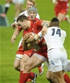 06.02.15 - Wales v England-  George North of Wales is tackled by Anthony Watson of England .