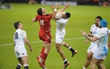 06.02.15 - Wales v England-  Anthony Watson of England and George North of Wales compete for the ball.