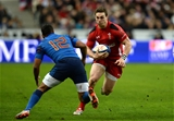 28.02.15 - France v Wales - RBS 6 Nations 2015 - George North of Wales takes on Wesley Fofana of France.