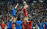 28.02.15 - France v Wales - RBS 6 Nations 2015 - Alun Wyn Jones of Wales takes line-out ball.