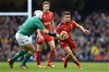 14.03.15 - Wales v Ireland - RBS 6 Nations 2015 - Rhys Webb of Wales takes on Rory Best of Ireland.