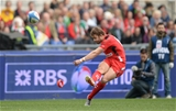 21.03.15 - Italy v Wales - RBS 6 Nations 2015 - Leigh Halfpenny of Wales kicks at goal.