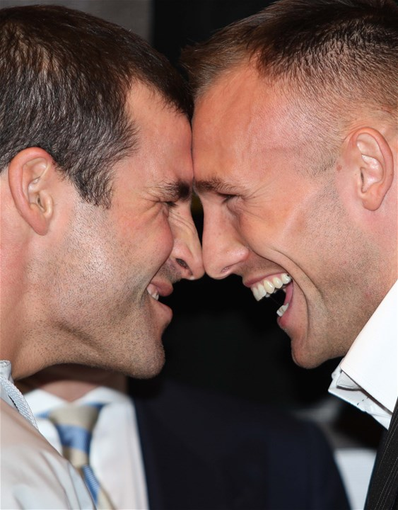 01.11.07..Joe Calzaghe v Mikkel Kessler, Boxing press conference, CardiffJoe Calzaghe and Mikkel Kessler go head to head prior to their World Championship fight at the Millennium Stadium this Saturday©Huw Evans Agency, Cardiff