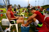 28.07.15 - Wales Rugby Camp in Qatar -Hallam Amos, Eli Walker and Matthew Morgan after training