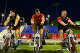28.07.15 - Wales Rugby Camp in Qatar -Gareth Davies, Tom James and Samson Lee during training.