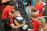 11.08.15 - Wales Rugby Signing Session in North Wales -Jamie Roberts and James Hook during a signing session at Parc Eirias.