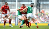 29.08.15 - Ireland v Wales - Guinness Summer Series -Scott Williams of Wales is tackled by Robbie Henshaw and Luke Fitzgerald of Ireland.
