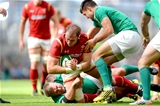 29.08.15 - Ireland v Wales - Guinness Summer Series -Alun Wyn Jones of Wales is tacked by Nathan White and Conor Murray of Ireland.