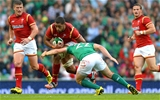 29.08.15 - Ireland v Wales - Guinness Summer Series -Taulupe Faletau of Wales takes on Paddy Jackson of Ireland.