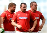 29.08.15 - Ireland v Wales - Guinness Summer Series -Tomas Francis, Ken Owens and Gethin Jenkins of Wales.