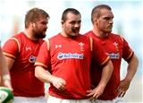 29.08.15 - Ireland v Wales - Guinness Summer Series -Tomas Francis, Ken Owens and Gethin Jenkins of Wales.