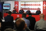 31.08.15 - Wales Rugby World Cup Squad Announcement -(L-R) Sam Warburton, Warren Gatland, Gareth Davies and Alan Phillips during the naming of the Wales Rugby World Cup squad.