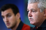 31.08.15 - Wales Rugby World Cup Squad Announcement -Warren Gatland and captain Sam Warburton Warburton (left) during the naming of the Wales Rugby World Cup squad.