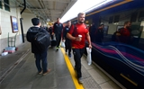 21.09.15 - Wales Rugby World Cup Squad Travel to London -Tomas Francis, Aaron Jarvis and Luke Charteris walks to the team train to London at Cardiff Central Station.