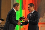 21.09.15 - Wales Rugby World Cup Welcome Ceremony -Liam Williams is presented his 2015 Rugby World Cup cap by HRH Duke of Cambridge.