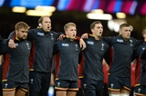 01.10.15 - Wales v Fiji - Rugby World Cup 2015 -Tomas Francis, Alun Wyn Jones, Tyler Morgan, George North and Dan Lydiate during the anthems.