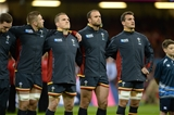 01.10.15 - Wales v Fiji - Rugby World Cup 2015 -George North, Dan Lydiate, Gethin Jenkins, Jamie Roberts and sam Warburton during the anthems.
