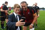 06.10.15 - Wales Rugby Training -Local school children meet Jamie Roberts.