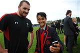 06.10.15 - Wales Rugby Training -Local school children meet Ken Owens.
