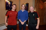 09.10.15 - HRH The Duke of Cambridge, Vice Royal Patron of the Welsh Rugby Union, meets Gethin Jenkins and Neil Jenkins after presenting the Wales squad with their match jerseys ahead of their Rugby World Cup encounter against Australia at Twickenham on Saturday.