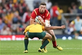 10.10.15 - Australia v Wales, Rugby World Cup 2015 - Alex Cuthbert of Wales is tackled by Will Genia of Australia