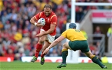 10.10.15 - Australia v Wales - Rugby World Cup 2015 -Jamie Roberts of Wales is tackled by David Pocock of Australia.