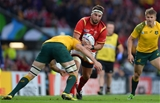 10.10.15 - Australia v Wales - Rugby World Cup 2015 -Scott Baldwin of Wales is tackled by Scott Fardy of Australia.