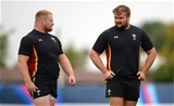 13.10.15 - Wales Rugby Training -Samson Lee and Tomas Francis during training.