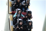14.10.15 - Wales Rugby Squad Visit Thorpe Park -(front to back) Alex Cuthbert, Lloyd Williams, Matthew Morgan, Taulupe Faletau, Eli Walker and Tyler Morgan enjoy the rides at Thorpe Park.