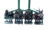14.10.15 - Wales Rugby Squad Visit Thorpe Park -(Left to Right) Ross Moriarty, James Hook, James King, Gareth Anscombe, Lloyd Williams, Taulupe Faletau and Tyler Morgan enjoy the rides at Thorpe Park.