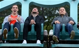 14.10.15 - Wales Rugby Squad Visit Thorpe Park -(Left to Right) George North, Alex Cuthbert and James King enjoy the rides at Thorpe Park.