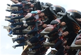 14.10.15 - Wales Rugby Squad Visit Thorpe Park -(Left to Right) Lloyd Williams, Matthew Morgan, James King, Eli Walker and George North enjoy the rides at Thorpe Park.