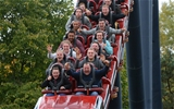 14.10.15 - Wales Rugby Squad Visit Thorpe Park -(From second row to back) Gareth Anscombe, James King, Tyler Morgan, Alex Cuthbert, Taulupe Faletau, Matthew Morgan, Eli Walker, Mike Phillips, James Hook and Ross Moriarty enjoy the rides at Thorpe Park.