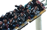 14.10.15 - Wales Rugby Squad Visit Thorpe Park -(From front row to back) Taulupe Faletau, James King, James Hook, Mike Phillips, Ross Moriarty, Gareth Anscombe, Matthew Morgan and Tyler Morgan enjoy the rides at Thorpe Park.