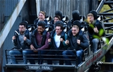 14.10.15 - Wales Rugby Squad Visit Thorpe Park -(From front row to back) Mike Phillips, Taulupe Faletau, Matthew Morgan, James King, Tyler Morgan, James Hook and Ross Moriarty enjoy the rides at Thorpe Park.