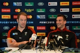 15.10.15 - Wales Rugby Team Announcement -Alun Wyn Jones (left and Sam Warburton talks to media.