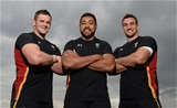 15.10.15 - Wales Rugby Training -Dan Lydiate, Taulupe Faletau and Sam Warburton who make a record 7th Rugby World Cup back-row start