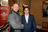16.10.15 - Actor and Comedian Rob Brydon meets Samson Lee after presenting match jerseys to the Wales rugby squad ahead of their Rugby World Cup quarter final tomorrow against South Africa.