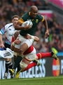 17.10.15 - South Africa v Wales, Rugby World Cup 2015 Quarter Final - JP Pietersen of South Africa is tackled by Alun Wyn Jones of Wales