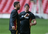03.02.16 - Wales rugby training session, Principality Stadium - Alex Cuthbert and Tom James during a training session at the Principality Stadium ahead of the Six Nations match against Ireland