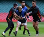 03.02.16 - Wales Rugby Training - Tom James, Aled Davies and Jonathan Davies during training.
