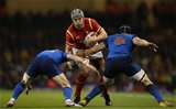 26.02.16 - Wales v France, RBS 6 Nations Championship 2016 - Jonathan Davies of Wales takes on Maxime Machenaud of France  and Wenceslas Lauret of France