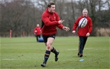 01.03.16 - Wales Rugby Training - Hallam Amos during training.