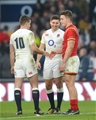 12.03.16 - England v Wales - RBS 6 Nations 2016 -Ben Youngs and George Ford of England with Jonathan Davies of Wales at the end of the game.
