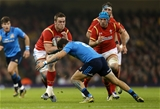 19.03.16 - Wales v Italy - RBS 6 Nations - Dan Lydiate of Wales is tackled by Guglielmo Palazzani of Italy.
